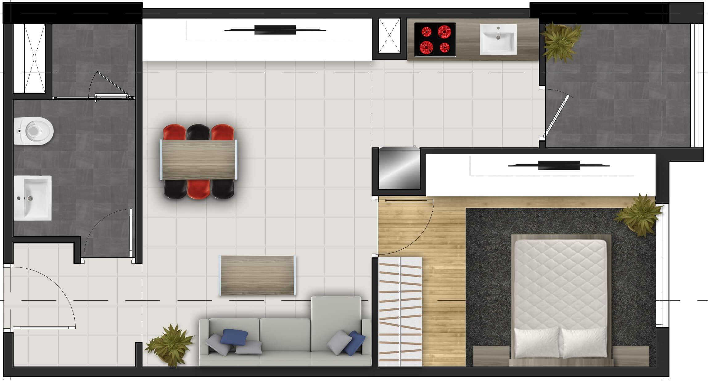 Căn hộ 1 phòng ngủ FPT Plaza lttland