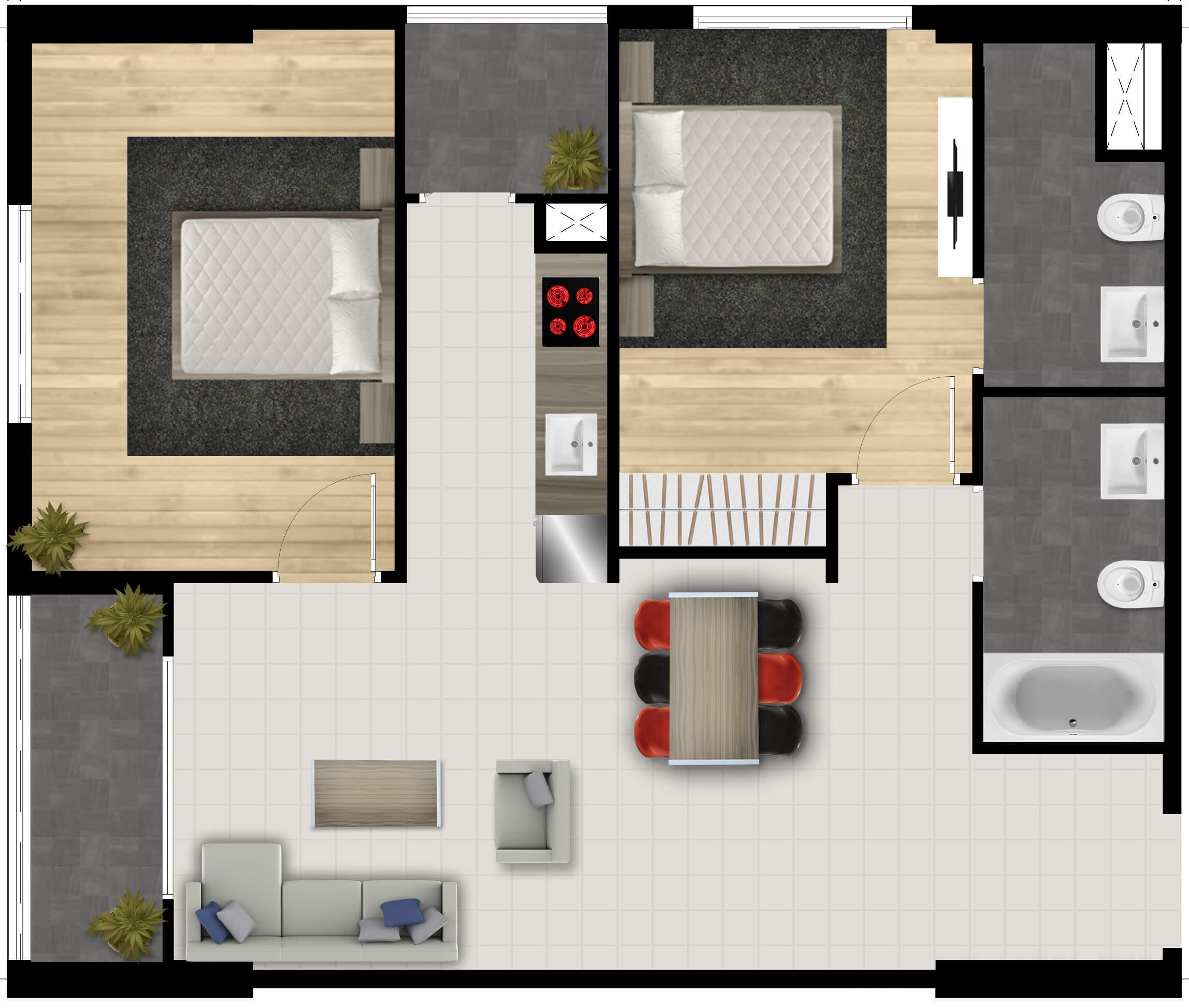 Căn hộ 2 phòng ngủ FPT Plaza lttland