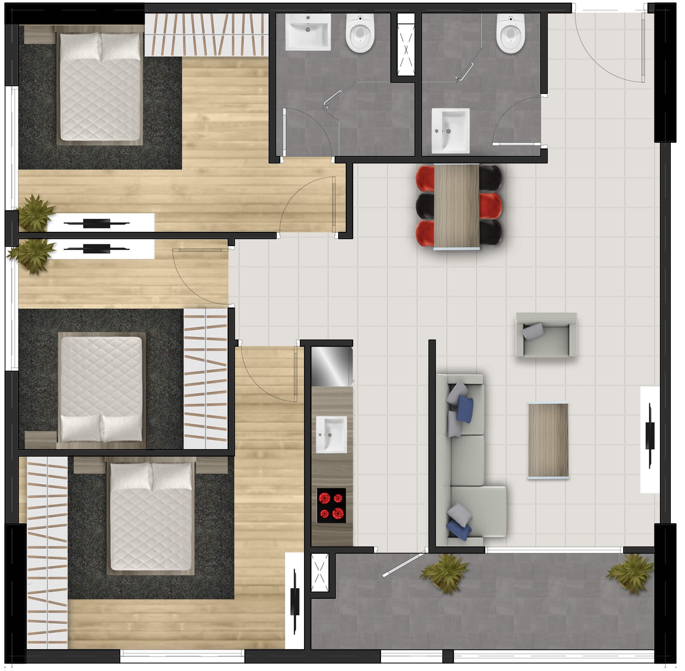 Căn hộ 3 phòng ngủ FPT Plaza lttland